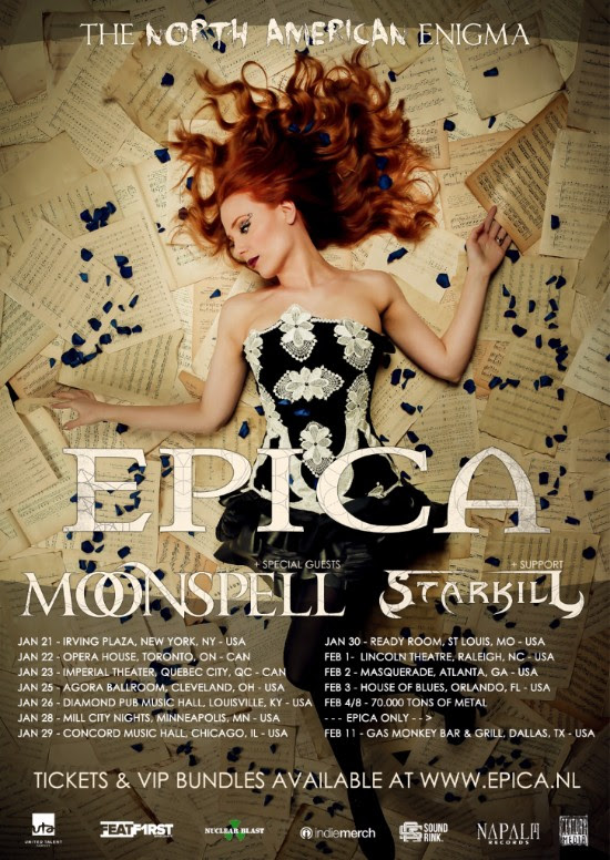 Epica-Tour Epica with Starkill and Moonspell live at Irving Plaza on January 21st, 2015
