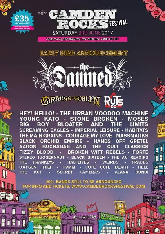 CamdenRocks2017 THE DAMNED TO PLAY CAMDEN ROCKS FESTIVAL, JUNE 3rd 2017