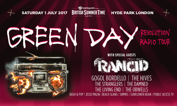 """BSTGD_900x540_swap-ee9a26a0b3-e1496597506181 """"We're playing with some new young upstarts"""" Dave Vanian, singer with British Punk legends, The Damned on playing with Green Day at BST."""