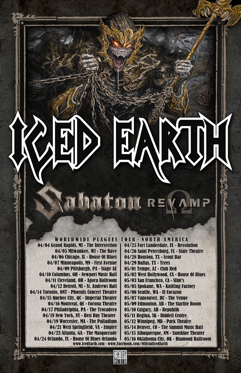 ICED EARTH Tour Admat Dates